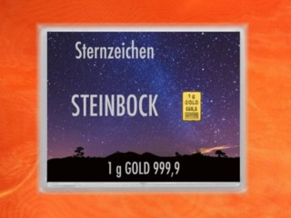 1 g gold gift bar flip motif: Zodiac sign Capricorn