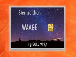 1 Gramm Gold Geschenkbarren Flipmotiv: Sternzeichen Waage