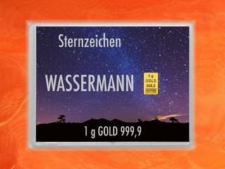 1 Gramm Gold Geschenkbarren Flipmotiv: Sternzeichen Wassermann