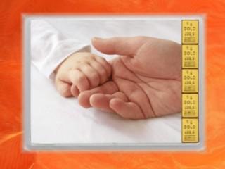 5 Gramm Gold Geschenkbarren Flipmotiv: Alles Gute Geburt
