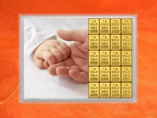 20 g gold gift bar flip motif: All the best Birth