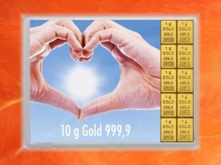 10 Gramm Gold Geschenkbarren Flipmotiv: Goldene Zukunft