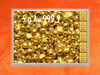 5 g gold gift bar flip motif: gold granules